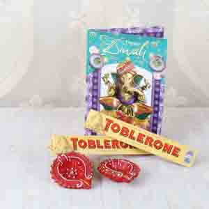 Floral Hampers-Diwali Toblerone Chocolates with Greeting Card