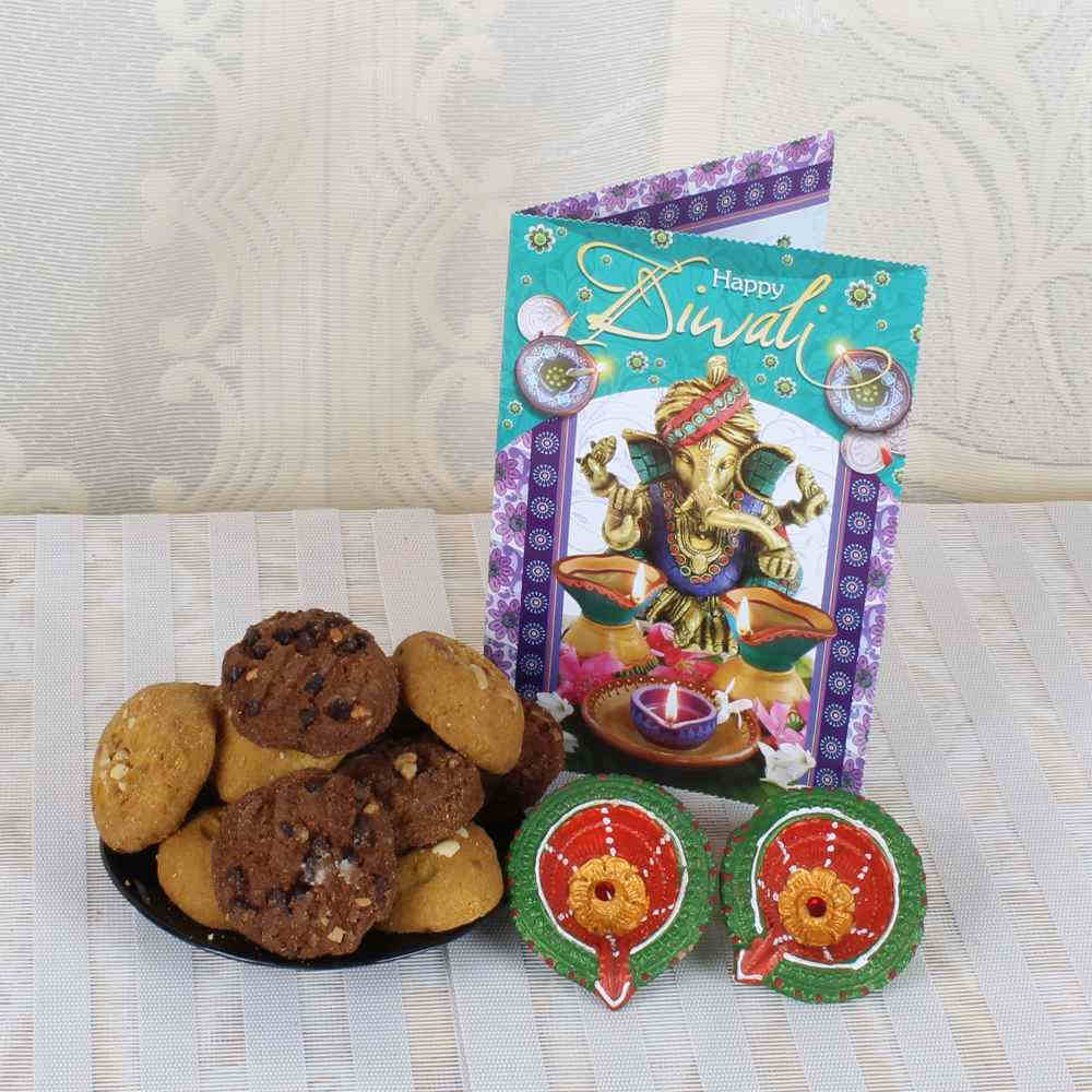 Assorted Cookies Box with Earthen Diyas