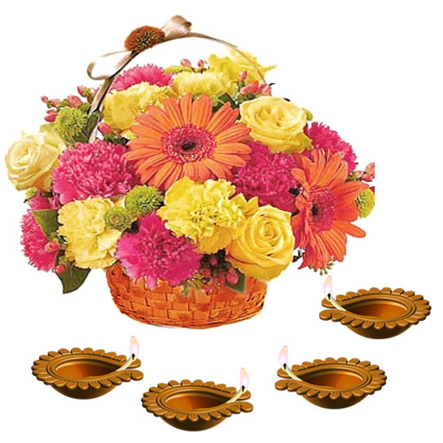 Diwali Earthen Diya with Beautiful Flowers Basket