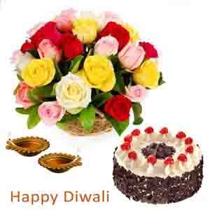 Flowers & Cakes-Diwali Gift of Roses and Cake