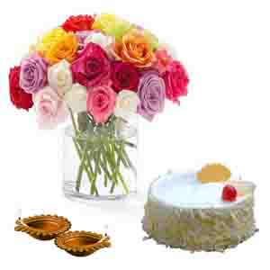 Flowers & Cakes-Diwali Treat of Pineapple Cake and Roses