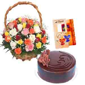 Flowers & Cakes-Basket of Roses with Chocolate Cake