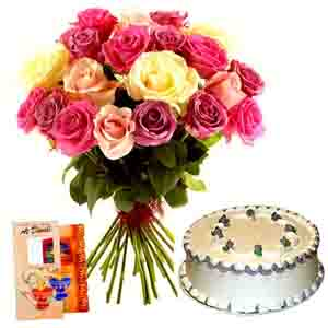 Flowers & Cakes-Diwali Present of Vanilla Cake with Roses