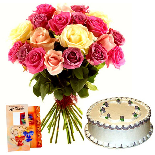 Diwali Present of Vanilla Cake with Roses