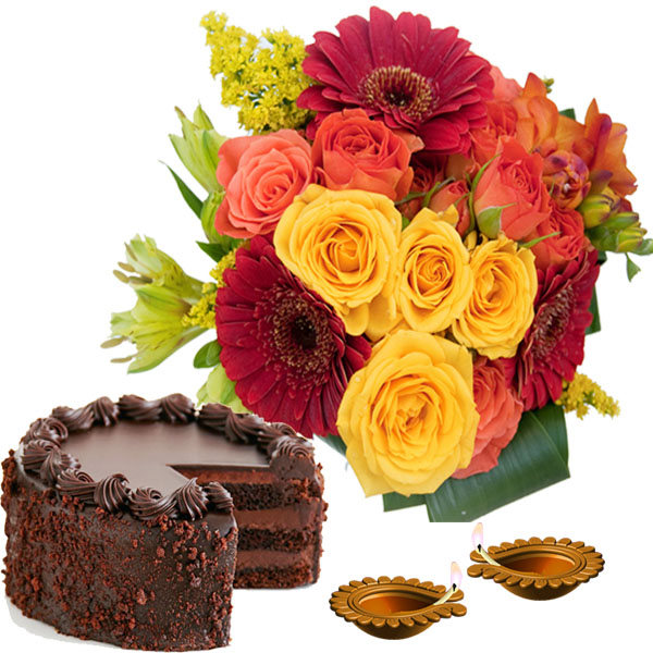 Diwali Gift Combo of Flowers and Chocolate Cake