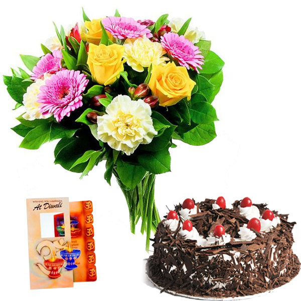 Dipawali Celebration with Cake and Flowers