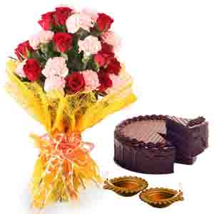Flowers & Cakes-Diwali Decoratives Diya with Roses Carnations Bouquet