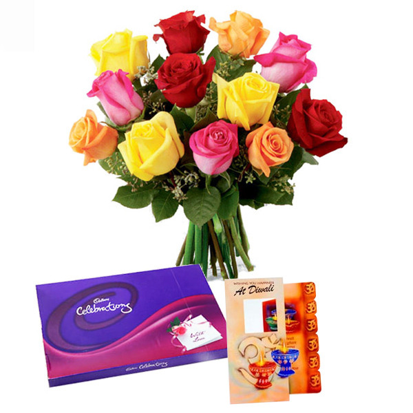 Flowers with Chocolates-Diwali Card and Mix Roses with Celebration pack