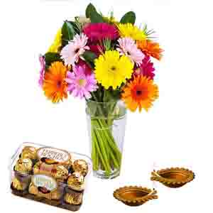 Flowers with Chocolates-Colorful Gerberas with Ferrero Rocher Chocolates