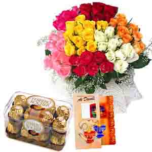 Flowers with Chocolates-Diwali Colorful Combo !
