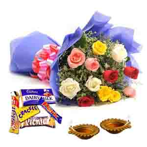 Flowers with Chocolates-Dipawali Deepak with Roses and Chocolates