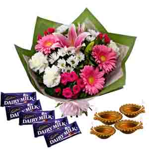 Flowers with Chocolates-Flowers Bouquet with Dairy Milk Chocolates