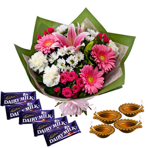 Flowers Bouquet with Dairy Milk Chocolates