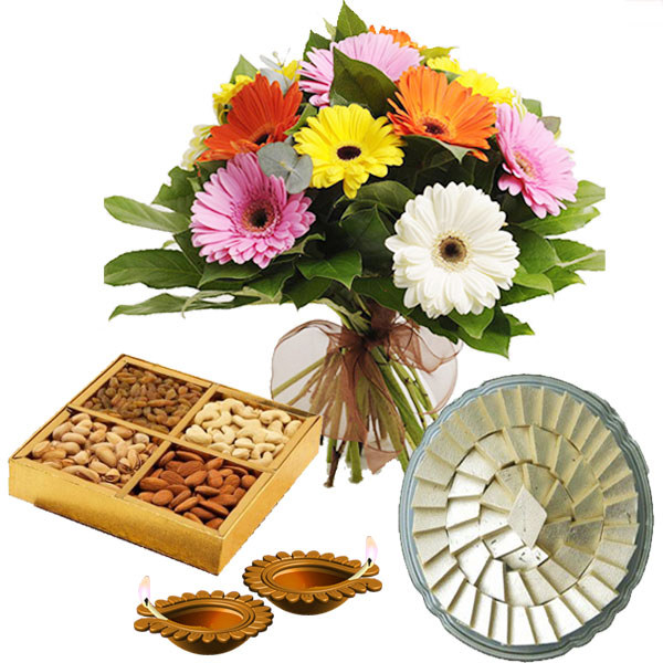 Box of Kaju Katli and Dry Fruits and Fresh Gerberas Bunch