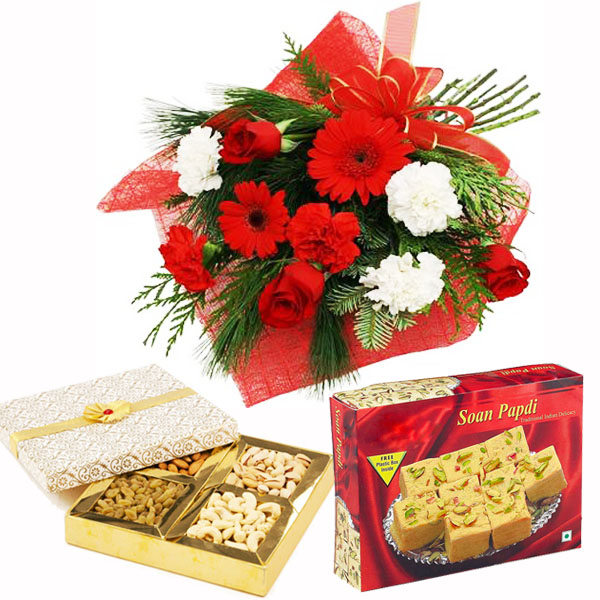 Flowers Bouquet with Soan Papdi and Dry fruits Box