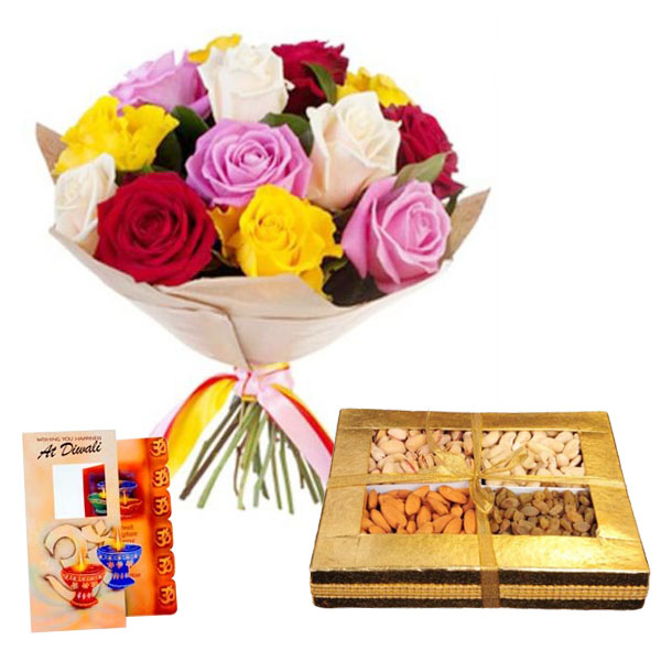 Diwali Combo of Roses and Dry fruits