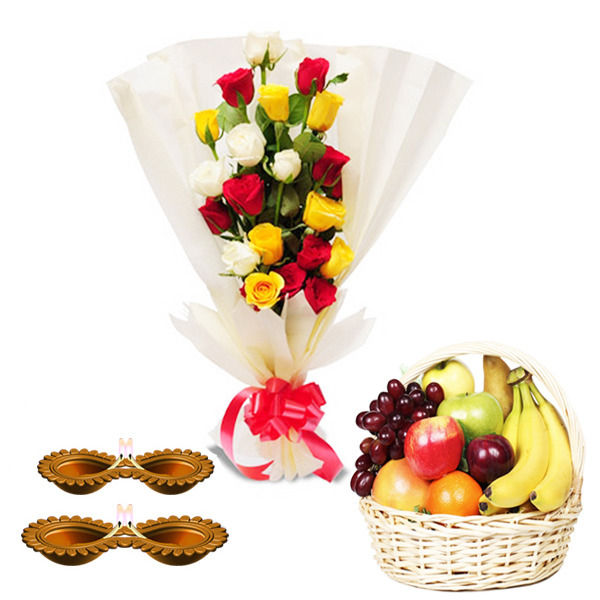Flowers Bouquet with Fruits and Diwali Diya's