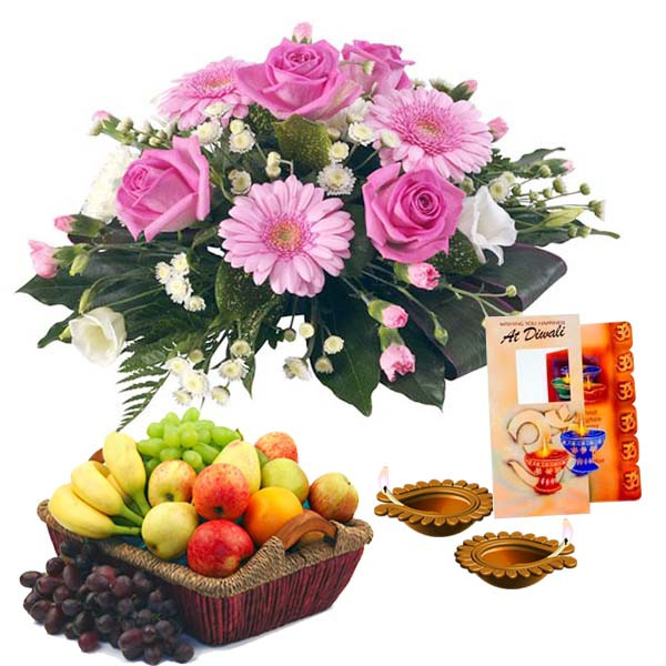 Roses Bouquet with Fruits and Diwali Diya