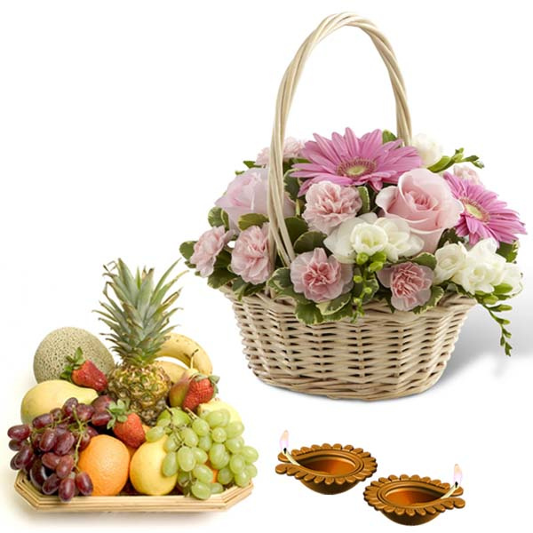 Fruits and Floral Basket with Diwali Diya