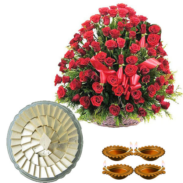 Diwali Gift of 100 Red Roses with Kaju Katli