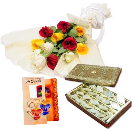 Diwali Hamper of Roses with Kaju Katli Sweet
