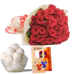 Flowers and Mithai-Roses and Rasgulla Diwali Comb