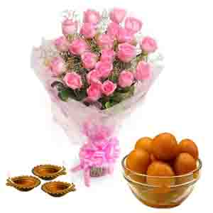 Flowers and Mithai-Gulab Jamun and Diyas with Pink Roses