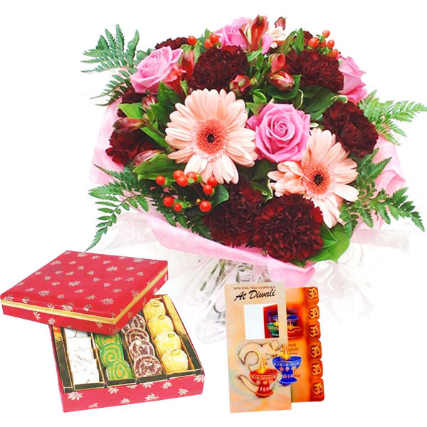 Diwali Card with Flowers Bunch with Mix Mithai