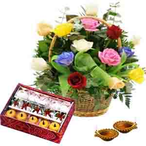 Flowers and Mithai-Diyas with Assorted Sweet and Basket of Roses