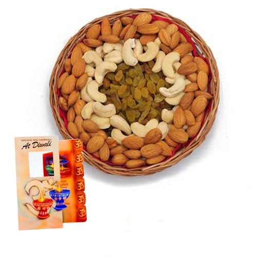 Assorted Dry Fruits with Diwali Wishes Card