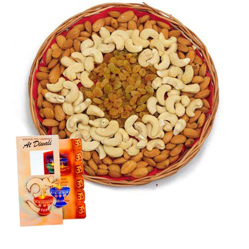 Mix Dry Fruits with Diwali Wishes Card