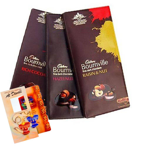 Floral Hampers-Cadbury Bournville chocolate with Diwali Card