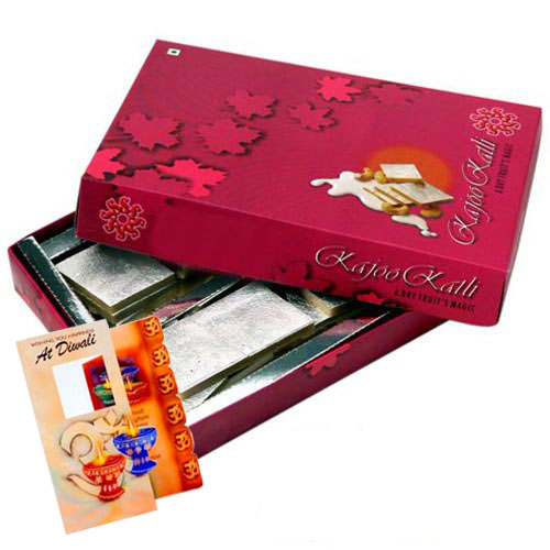 Box of Kaju Katli with Diwali Card