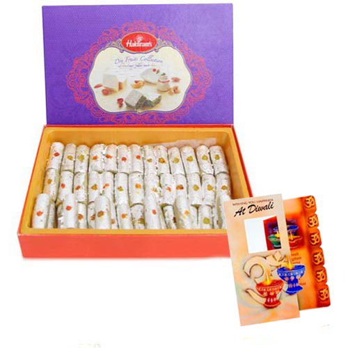 Box of Kaju Roll Sweet with Diwali Card