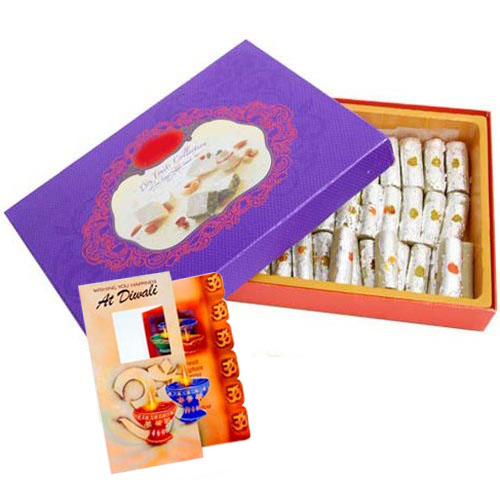 Diwali Card and Kaju Roll Combo