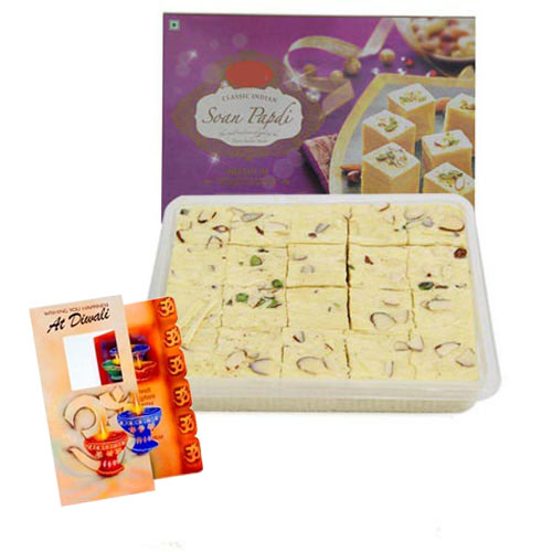 Diwali Card with Soan Papdi