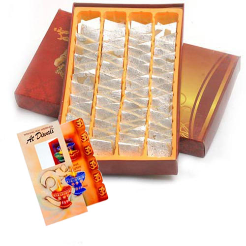 Box of Kesar Kaju Katli Sweet with Diwali Card