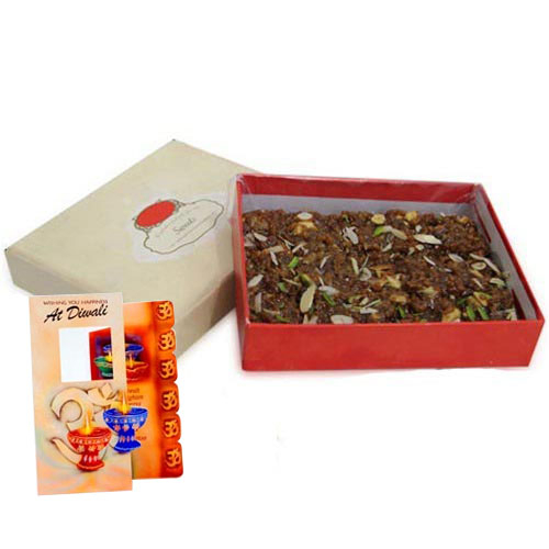 Box of Almond Sweet and Diwali Card