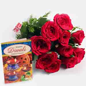 Fresh Flowers-Red Roses Bouquet with Diwali Card