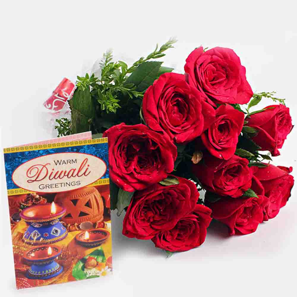 Red Roses Bouquet with Diwali Card