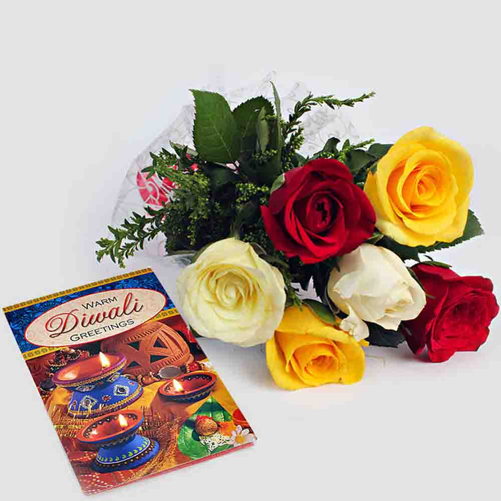 Diwali Wishes Card with Bunch of Mix Roses