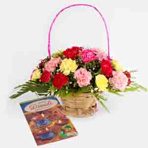 Fresh Flowers-Diwali Card with Basket of Mix Carnations Bouquet