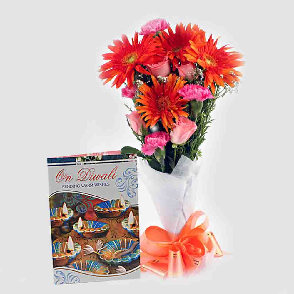 Bouquet of Fresh Flowers with Diwali Card