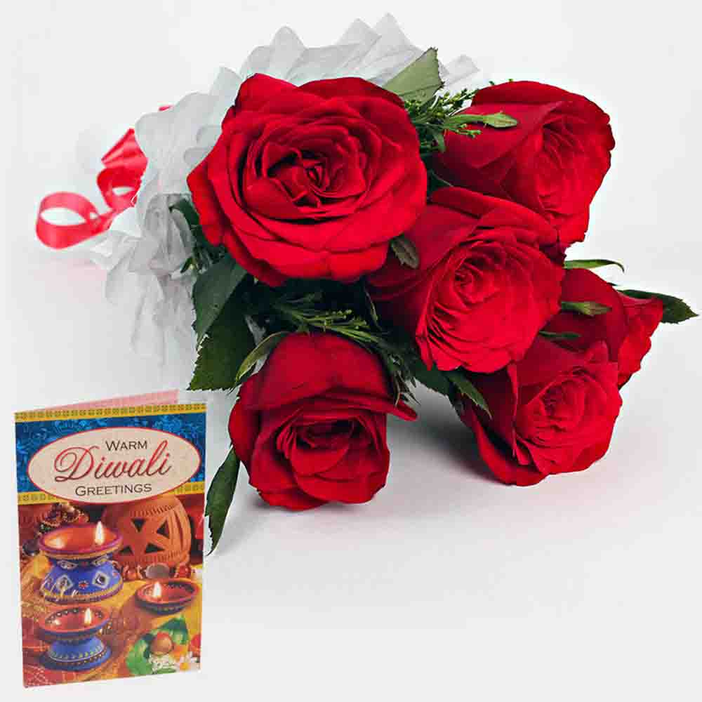 6 Red Roses Bouquet with Diwali Wishes Card