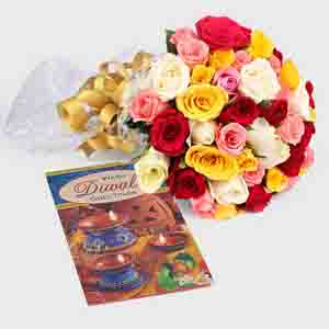 Fresh Flowers-Diwali Gift of 50 Mix Roses with Card