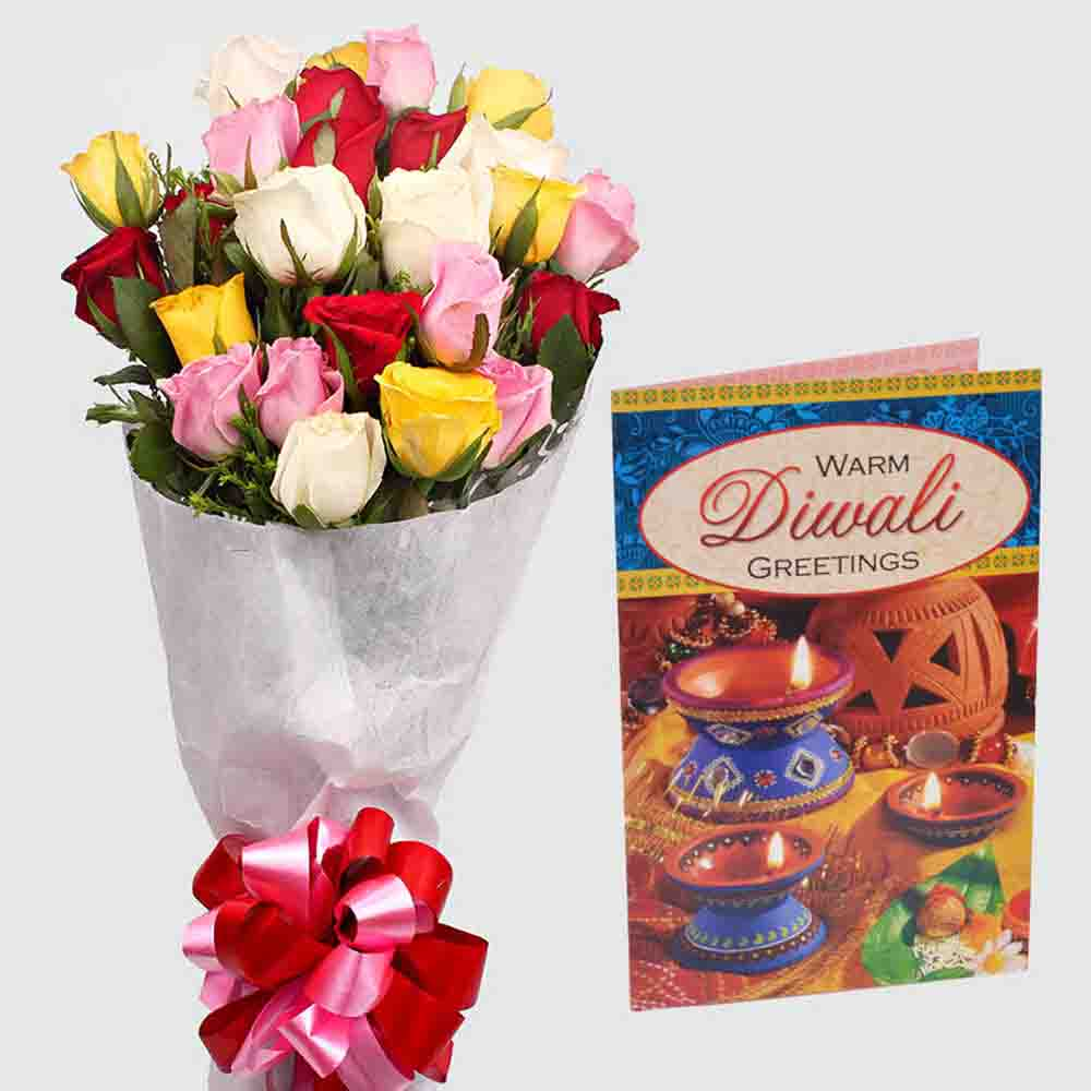 Diwali Card with Bouquet of 20 Colorful Roses
