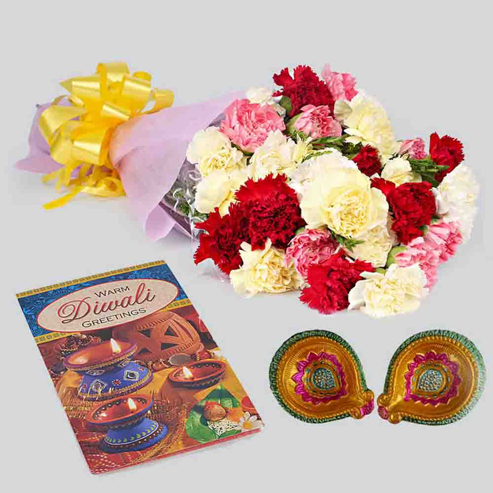 Bunch of Carnations with Diwali Card and Diya