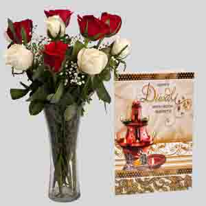Fresh Flowers-Mix Roses Vase Arrangement with Diwali Card
