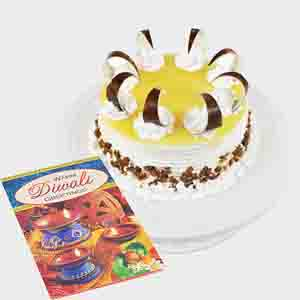 Cakes-Round Butterscotch Cake with Diwali Card