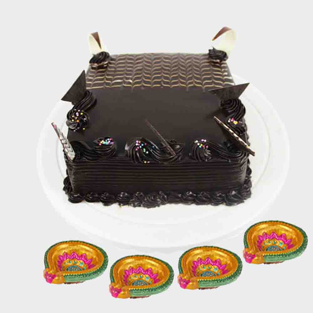 Chocolate Square Shape Cake with Diwali Diyas